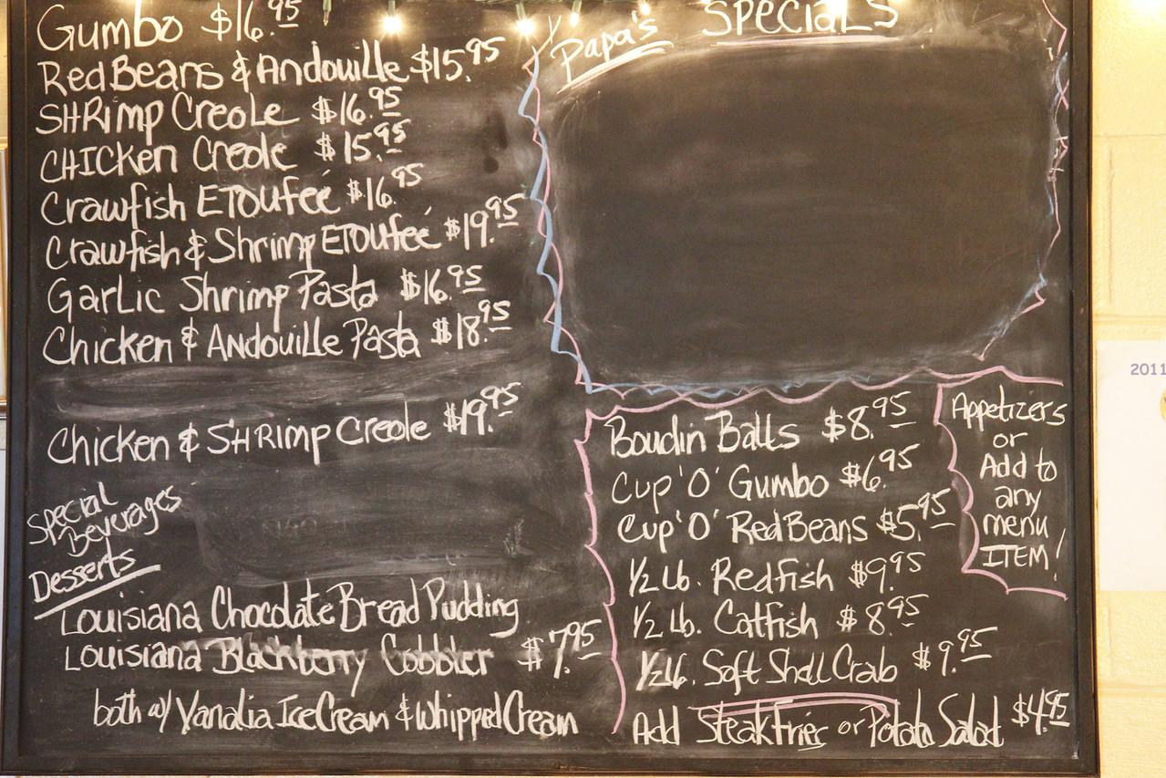 The menu at Papa Boudreaux's Cajun Cafe on Fly Road  in Santa Fe, TN