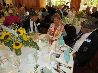 Table with fellow veterans from the famed 10th Mountain Division. [As there are now so few left, they no longer hold annual conventions.]