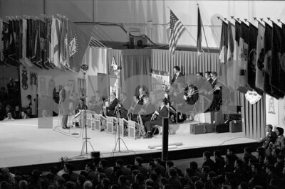Les Brown and his Band of Renown performing with Bob Hope for the United States military forces on his Dec. 18, 1970 USO tour in Fleigerhorst, Germany.