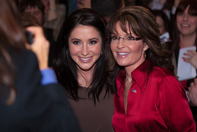 Sarah Palin poses with daughter Bristol and greets the crowd at CPAC after her keynote address on February 11, 2012.