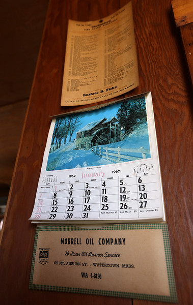 Historic mill property on Mill Road was used by a former owner for his phonograph manufacturing business. The facility seems frozen in time, with a 1962 calendar on the wall. (SUN/Julia Malakie)