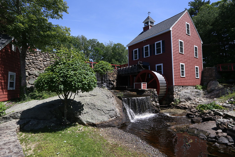 The historic mill at Russell Mill Pond on Mill Road in Chelmsford. (SUN/Julia Malakie)