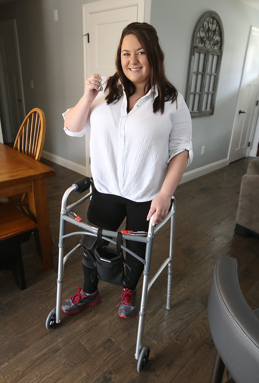 . Jenelle Valdina of Chelmsford, who used her invisaWear keychain to get help when she was injured in a car crash on the Lowell Connector.(SUN/Julia Malakie)