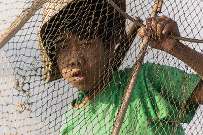 fisherman with net, Lake Inle, Myanmar