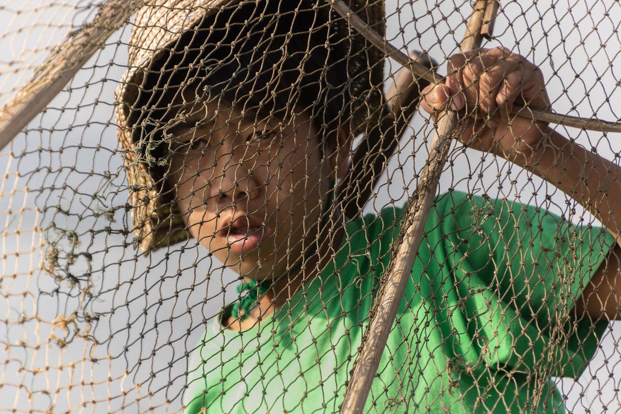 fisherman with net, Lake Inle, Myanmar