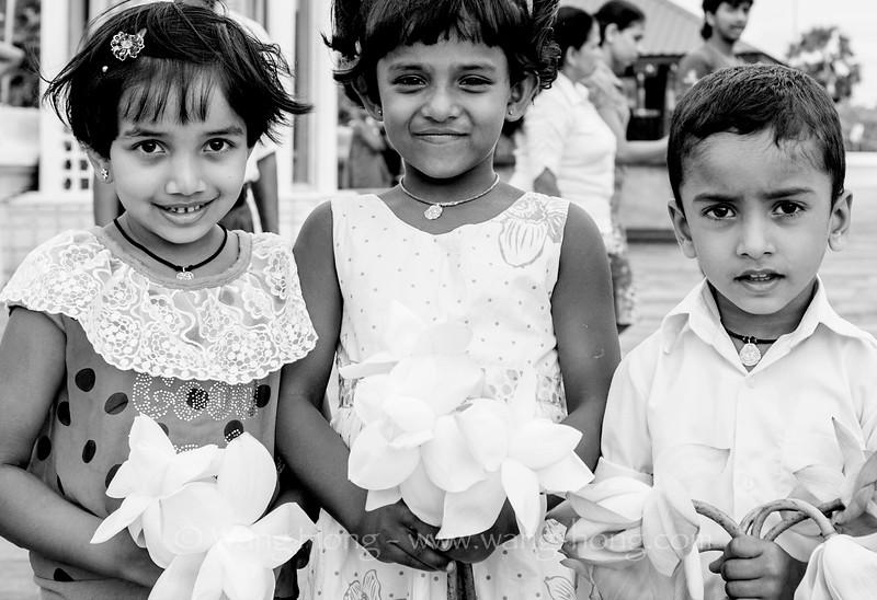 Coming to Ruwanwelisaya Stupa with lotus flowers to worship in Anuradhapura, Sri Lanka.