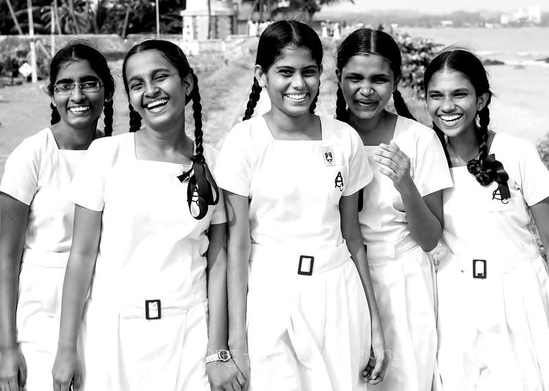 School girls at Galle Fort at sunset, Galle, Sri Lanka.