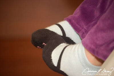Aren't these just the cutest little socks?    Taken February 25, 2012
