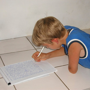 young author writing his first novel