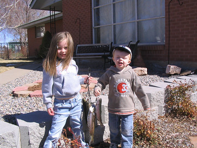 Salix and Talon Shirley with fish from Loyd's Lake.