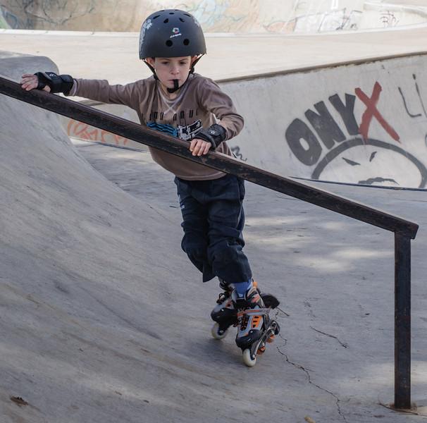 On roller skates