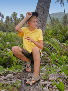 boy sitting on a dead palm tree trunk - tobago, west indies
