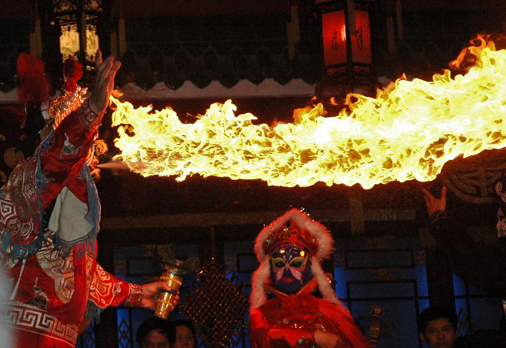 Fire-breather - Xian, China<br /> <br /> ©Gerald Diamond<br /> All rights reserved