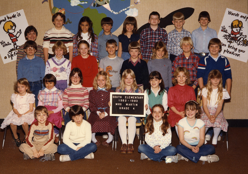 4th grade a Danville (Indiana) South Elementary for the 82-83 school year (class of '91).  I am in the top row, second from the right.  Also note Kim Pugh, the little blond in the second row, first on the left.  She was killed in an accident in November of 1985.  She was a great person that everyone liked and she treated everyone well.  Her loss made a pretty big impression on our class.  I should also point Jennifer Miller, second row, 3rd from the right, only because I think she marked the beginning of my penchant for brunettes.