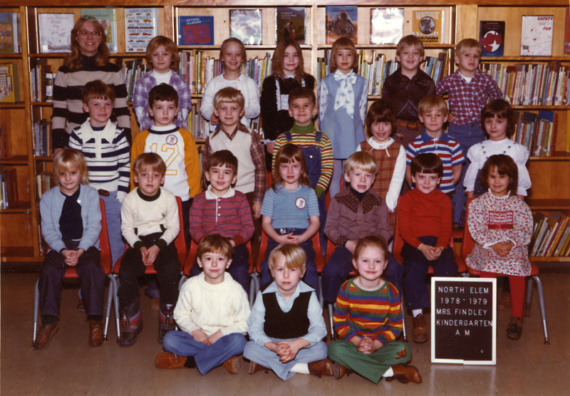 Kindergarten, Danville North Elementary School, 1978-1979 (class of '91).  I am in the second row from the back, 3rd from the left (in white sweater-vest)
