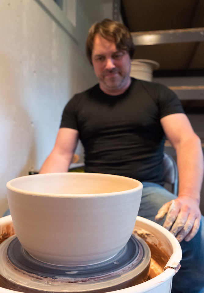 Chris Taylor and his pottery