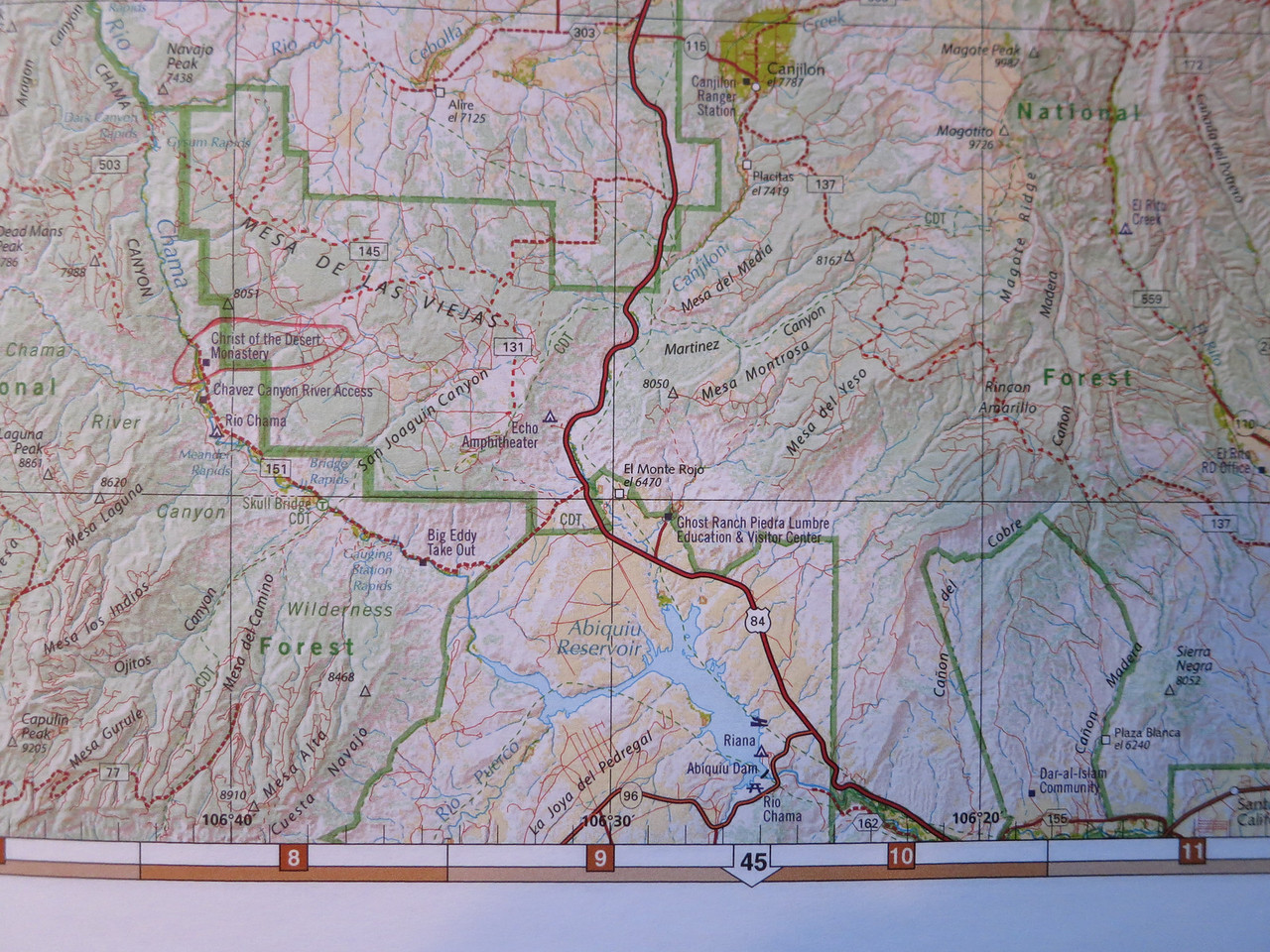 Abiquiu is now off the bottom edge of the map, but this shows the dotted 151 turnoff from 84.