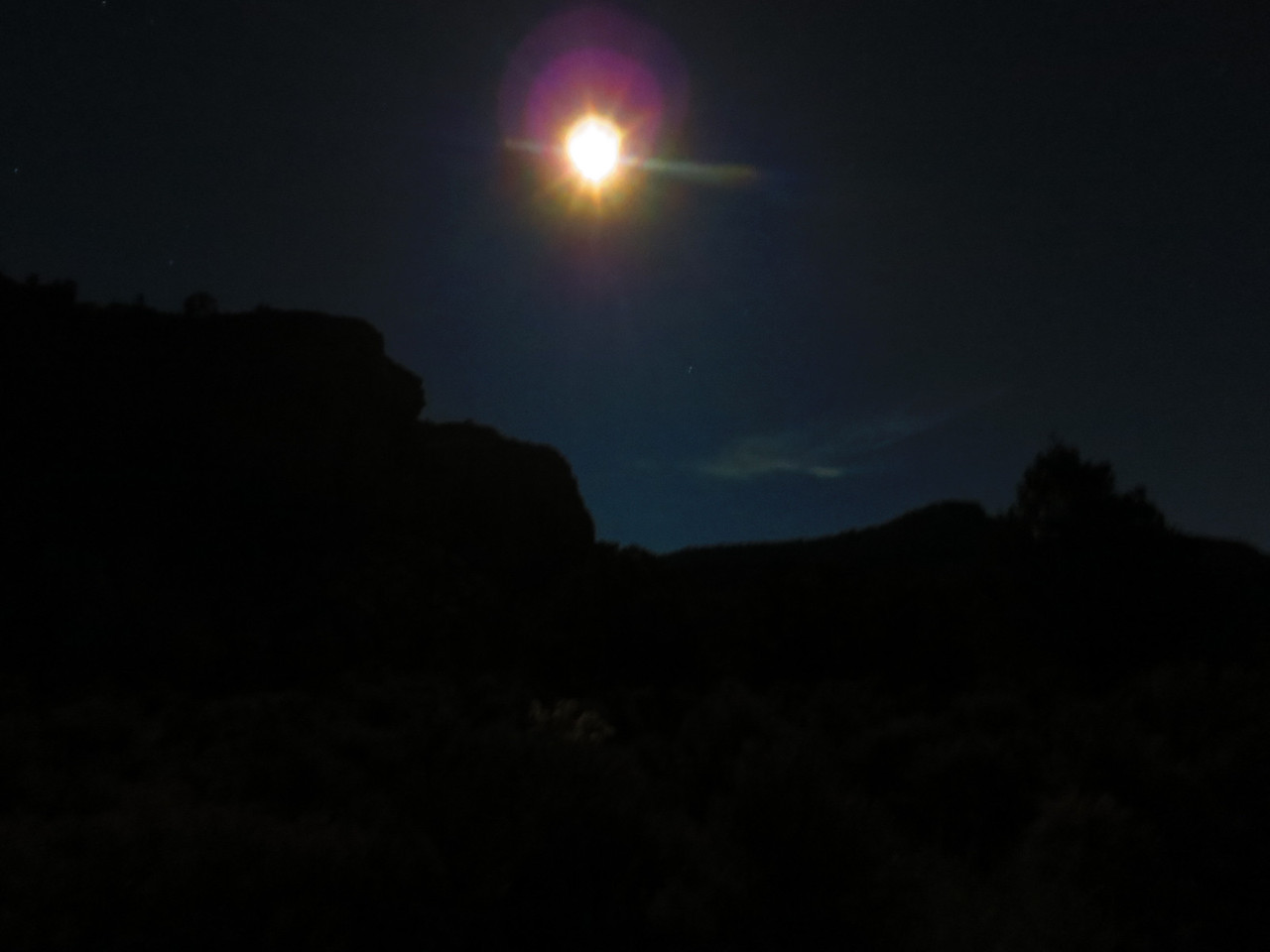 Taking a quiet stroll Monday night, joined by a bright moon.