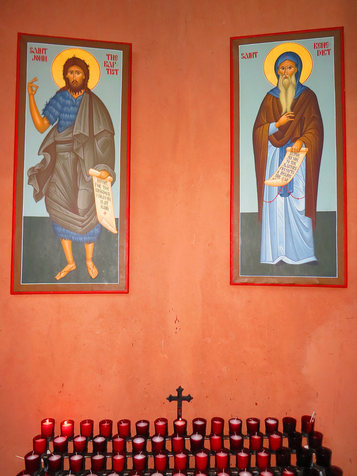 L-R: St John the Baptist and St Benedict. .. I lit a candle for us.