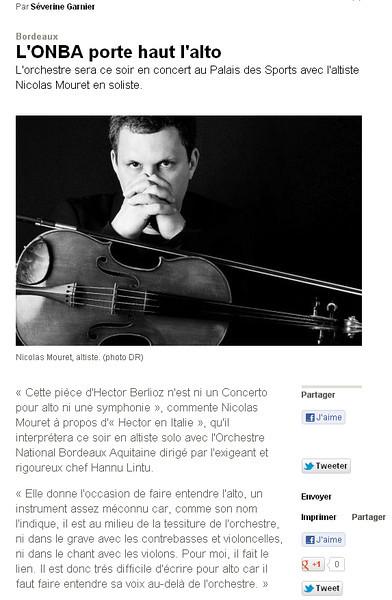 """Portrait de Nicolas Mouret, pour l'Orchestre Nationale de Bordeaux.<br /> <br /> <a href=""""http://www.sudouest.fr/2012/04/12/l-onba-porte-haut-l-alto-685546-4608.php"""">http://www.sudouest.fr/2012/04/12/l-onba-porte-haut-l-alto-685546-4608.php</a>"""