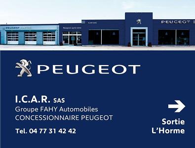Cliché de la concession Peugeot ICAR située à Saint-chamond.  Travail destiné aux affiches publicitaires 4mx3m.