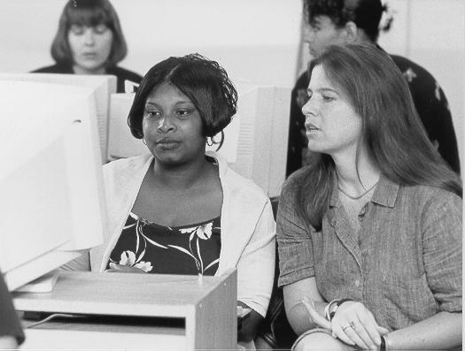 ladies looking at a computer