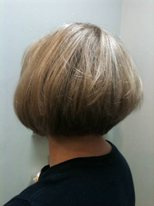 High lights, grey blended with semi color, graduated bob