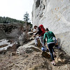 "Johanna Prader and Bryce Setta, both relocating to Boulder from New York, survey the possible climbs at Castle Rock on Sunday.<br /> For more than 50 years, no one has done any maintenance to the pullout loop by Castle Rock in Boulder Canyon. That's because land management agencies all thought it was the other guys' problem. Turns out, its Boulder County's problem ( in part), so now the open space department is proposing some upgrades to the area.<br /> For more photos of climbing, go to  <a href=""http://www.dailycamera.com"">http://www.dailycamera.com</a>.<br /> Cliff Grassmick / March 18, 2012"