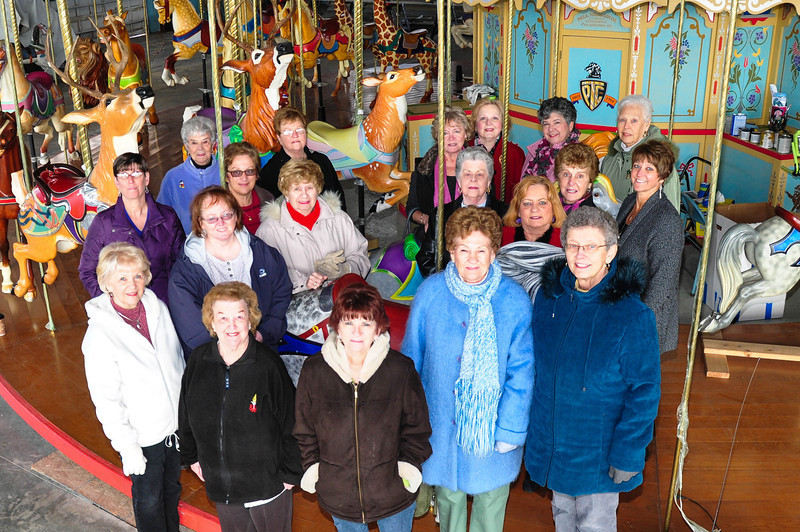 "The Doe Club of the Elks sponsored ""Bambi"", a beautiful addition to the Carousel At Pottstown.  <br /> <br /> Row 1: Jane Hamilton, Kay Bechtel (President), Joanne Reynolds, Marie Stahl, Janet Burkhart.<br /> Row 2: Debbie Arnosky, Sharon Johnson, Jackie Hertzog, Sis Swenk, Roberta Peterman, Wendy Eppehimer, Carol Eckroth, Wendy Schiavo.<br /> Row 3: Ellie Le Veille, Susie Edwards, Penny Searfoss, Carol Cusamano, Cheryl Baro, Edie Shaninger.<br /> <br /> Photo by Chris Austerberry Jr."