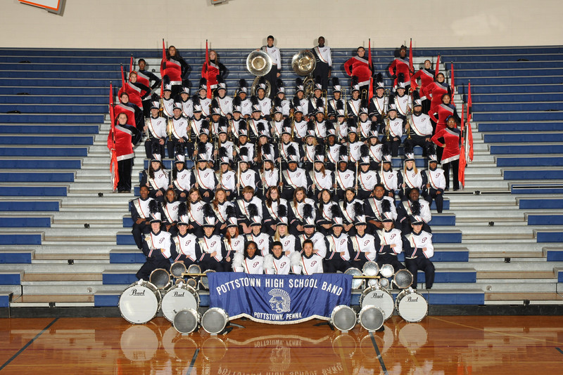 "The Pottstown High School Marching Band, under the direction of Mr. Michael Vought, opened its cavalcade season by participating in the 54th Annual Boyertown Cavalcade of Bands.   Pottstown took a third place in the Liberty Division (69-79 members) competing against Unionville, Pottsgrove, and Souderton.  <br /> The parent members of the ""Pit Crew"" received the Tractor Award recognizing them as the outstanding support group.  <br /> This year's marching band field show is entitled ""Rock Heroes"" and features hits of the rock era . <br /> <br /> Submitted by Pottstown School District"