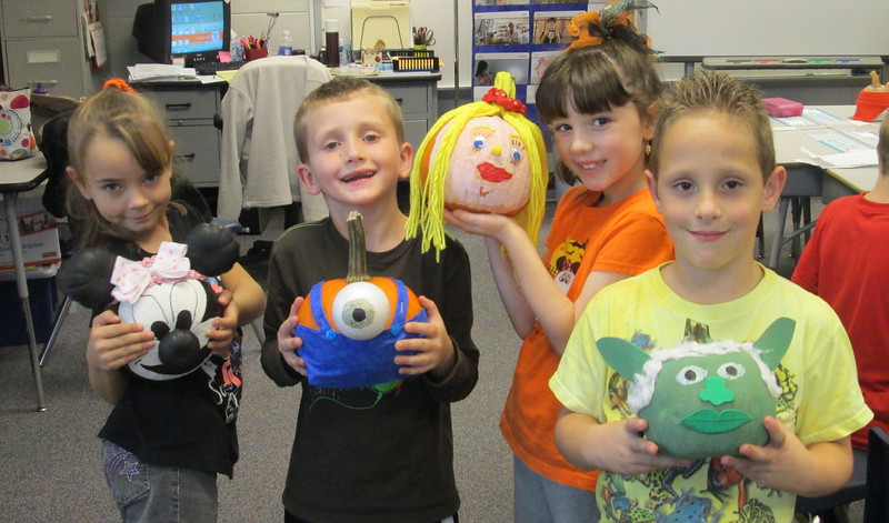 Second grade students at Schwenksville Elementary had the opportunity to decorate pumpkins as a book character of their choice.  The students brought these in to school to share with their classmates.  The students enjoyed guessing each other's pumpkin character.  <br /> Pictured are:  Carlee Knickerbocker, Thomas Gamon, Lucy Essig, and Brandon Chapkovitch <br /> <br /> Submitted by Perk Valley School District