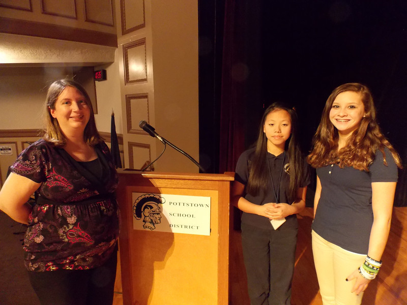 Eighth grader Abigail Richter became the Pottstown Middle School spelling bee champion competing with 25 other students at an assembly attended by the entire middle school student body and staff and parents. Runner-up was London Aquino.  <br /> Participating students included  Minyon Beasley, Francisco Cuascut, Evan DeBlase, Jacob Eames, Carlos Fuentes Brown, Andrew Green, Tyler Hall, Avery Heverly, Kiersten Heverly, Ceara Jackson, Yakeem Jackson, Samiyah Jones, Sabrina Lias, Kiaire Major, Diavonna Mojica, Jimmy O'Donnell, Alix Stewart, Julian Weber, Abby Welder, Jordan White, Kimberley Wilkinson, Lucas Wingard and Harrison Wolf.<br /> <br /> Pictured left to right: Kim Petro, organizer of the event, London Aquino and Abigail Richter.<br /> <br /> Submitted by Pottstown School District