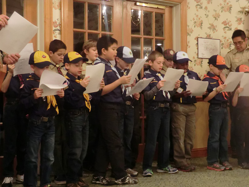 Chester Springs Boy Scout troop singing carols and handing out Christmas cards to the residents of Atria Woodbridge Place, Kimberton.<br /> <br /> Submitted by Atria Woodbridge Place