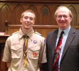 Jake Trexler was honored at First Baptist Church in Pottstown for completing all requirements as an Eagle Scout.  He is a member of Troop 99 which is sponsored by Grace Lutheran Church.  As part of meeting these requirements, he (with the help of his father and some friends) installed the fence in front of the church yard on King Street for the safety of children playing there.  He is pictured here with Dr. Marvin A. Marsh, Senior Pastor.<br /> <br /> Submitted by First Baptist Church