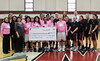 """Montgomery County Community College's Mustangs women's basketball  team sold raffle tickets and collected monetary donations for its """"Hoops for Hope"""" campaign from Jan. 2 through Feb. 8 which raised breast cancer awareness and scholarship funds for students impacted by the disease. The $590 collected during the campaign benefits the Prayers and Poinsettias scholarship fund through MCCC's Foundation. The scholarship provides critical financial aid support to students who have been impacted by breast cancer.<br /> <br /> Submitted by Montgomery County Community College"""