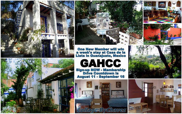 "WIN A WEEK FOR 2 IN GUANAJUATO, MEXICO! The Greater Austin Hispanic Chamber's (GAHCC) Membership Drive goes thru Sept 16th, 2010. New members who join during the drive automatically enter a drawing for a one week stay for two at Casa de la Llata in Guanajuato, Mexico. Come ""Meet the Chamber"" at El Sol y La Luna downtown / 600 East 6th Street / 78701 for great Food, Fun and Fellowship, 5:30pm - 7:30pm: Aug 25th, Sept 1st, Sept 8th & Sept 16th. ARIBA!"