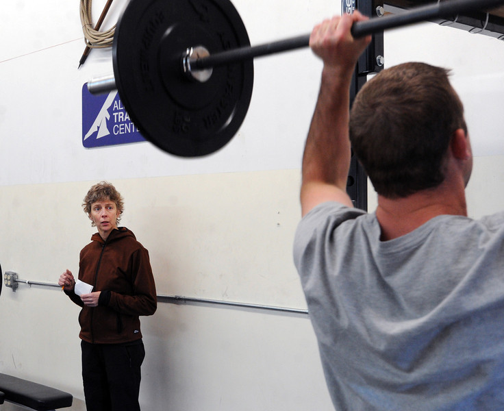 "Connie Sciolino, of the Alpine Training Center, watches Jason Shatek lift during a training class.<br /> For more photos and a video, go to  <a href=""http://www.dailycamera.com"">http://www.dailycamera.com</a>.<br /> Cliff Grassmick  / January 2, 2013"
