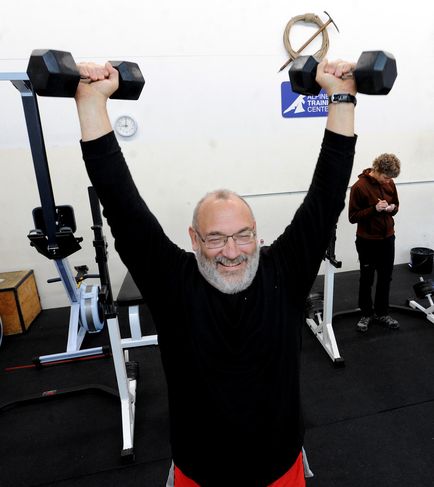 "Bruce Suprenant does one of the routines from Connie Sciolino, in background, at the Alpine Training Center on Wednesday.<br /> For more photos and a video, go to  <a href=""http://www.dailycamera.com"">http://www.dailycamera.com</a>.<br /> Cliff Grassmick  / January 2, 2013"