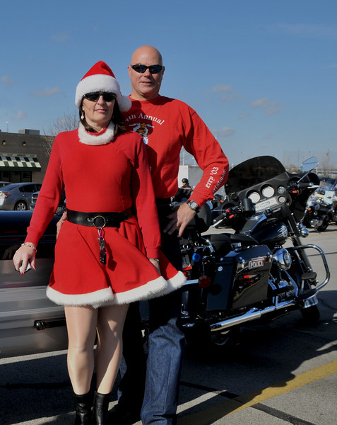 Creig and Michele Cooper, 2008 Abate Toy run with the new HD Police bike
