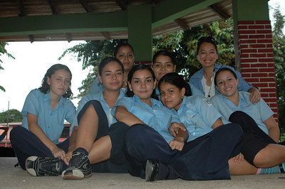 School girls with Sheila (at top right) - looks like in uniform, too