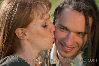 Young Woman kissing Man on Cheek – Germany, Europe