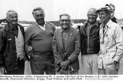 Monterey Historics, 1981: A beaming Mr. C. poses with four of his drivers, L-R: John Gordon Benett, Sherwood Johnston, Briggs, Fred Wacker, and John Fitch (David Woodhouse photo)