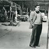 Briggs Cunningham in a garage in Le Mans, France, 1953. (The Collier Collection)