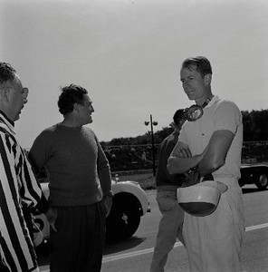 Elkhart Lake Races, 1956. Briggs Cunningham, center and John Fitch, on right. (Photo credit: Karl Ludvigsen Photograph Collection, Revs Institute)