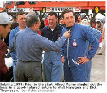 Sebring 1959: Prior to the start, Albert Momo singles out the boss in a good-natured lecture to Walt Hansgren and Dick Thompson. (Dan Rubin photograph)