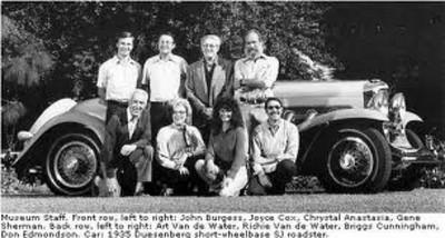 Museum staff. Front row, left to right: John Burgess, Joyce Cox, Chrystal Anastasia, Gene Sherman. Back row, left to right: Art Van de Water, Richie Van de Water, Briggs Cunningham, Don Edmondson. Car: 1935 Duesenberg short-wheelbase SJ roadster.