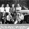 Museum staff. Front row, left to right: John Burgess, Joyce Cox, Chrystal Anastasia, Gene Sherman. Back row, left to right: Art Van de Water, Richie Van de Water, Briggs Cunningham, Don Edmondson. Car: 1935 Duesenberg short-wheelbase SJ roadster.