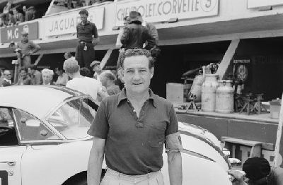 24 Hours of Le Mans, 1960. Driver and car owner Briggs Cunningham standing in front of one of his Corvettes. (Photo credit: Albert R. Bochroch Photograph Collection, Revs Institute)