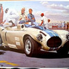 """1953 Briggs Cunningham Race Car Racing Design print for sale. * Up for sale is: 1981 print of a painting by William J. Sims: (following written at time of printing, 1981) """"1953 Cunningham. When Yale educated dashing Briggs Cunningham got the racing itch, he formed his own company to produce a series of powerful, successful racers. Products of the B.S. Cunningham Company were intended to surpass Eurpopean machines of the same class. Cunningham's vehicles ran well and logged some successes in American events, but he never was able to achieve his ultimate goal of victory at LeMans. His firm produced six different models. The first was dubbed the C-1 and contained stock Cadillac and Chrysler engines in a tubular chassis. C-5s boasting a monster 310 hp engine, managed third, fifth and tenth place finishes at the 1954 LeMans. They were costly to manufacture and few were sold, but they represented a valiant and memorable effort in the field of sophisticated racing car design..."""" Source: <a href=""""http://www.etsy.com/listing/50917493/1953-briggs-cunningham-race-car-racing"""">http://www.etsy.com/listing/50917493/1953-briggs-cunningham-race-car-racing</a>."""