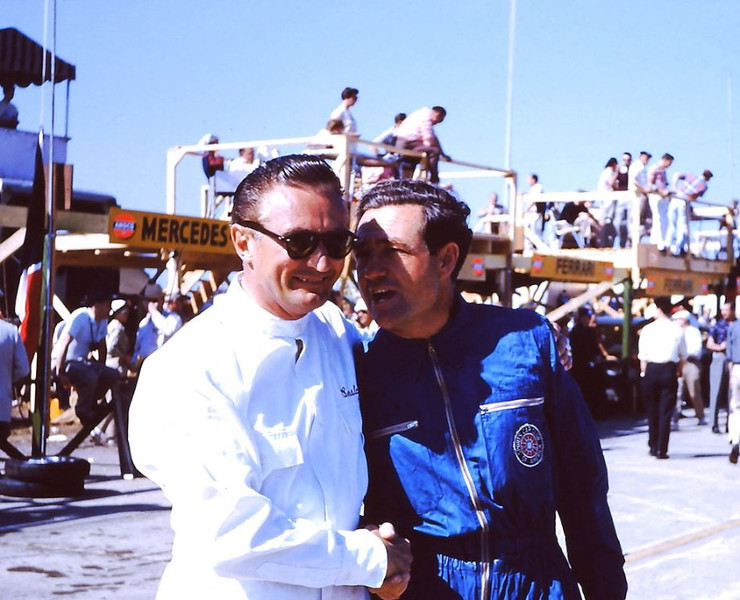 Jack Ensley and Briggs Cunningham on the starting grid at Sebring 1956. (Gene Bussian/PCA photo)